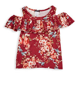 Girls 7-16 Floral Ruffled Cold Shoulder Top - 3635061950036