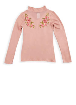 Girls 7-16 Long Sleeve Top with Floral Applique - 3635061950037