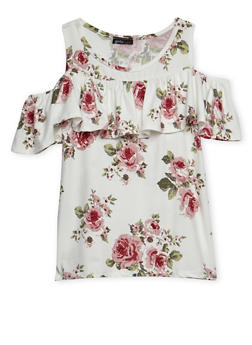 Girls 7-16 Floral Ruffled Cold Shoulder Top - 3635061950040