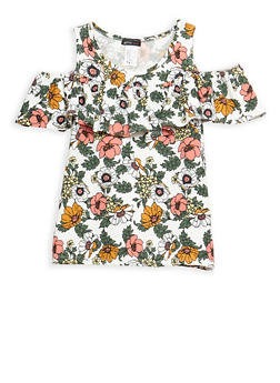 Girls 7-16 Cold Shoulder Floral Top with Ruffle Detail - 3635061950043