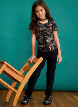 Girls 7-16 Camo Lace Up T Shirt - 3635061950048
