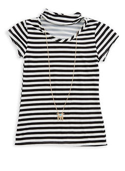 Girls 7-16 Striped Top with Attached Necklace - 3635061950052