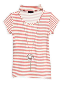 Girls 7-16 Striped Top with Detachable Necklace - 3635061950053