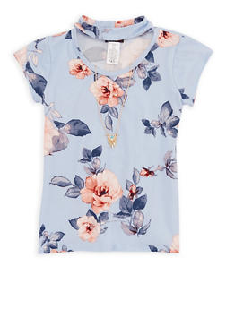 Girls 7-16 Floral Keyhole Top with Necklace - 3635061950057