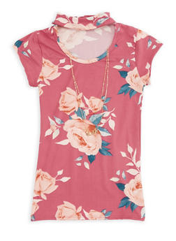 Girls 7-16 Floral Keyhole Top with Necklace - 3635061950058