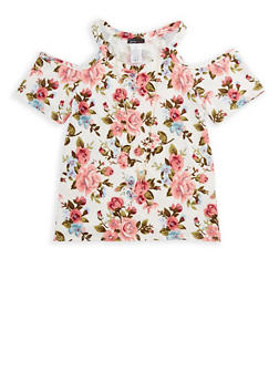 Girls 7-16 Floral Cold Shoulder Top with Attached Necklace - 3635061950063