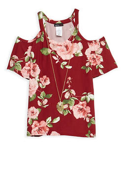 Girls 7-16 Cold Shoulder Floral Top with Detachable Necklace - 3635061950066