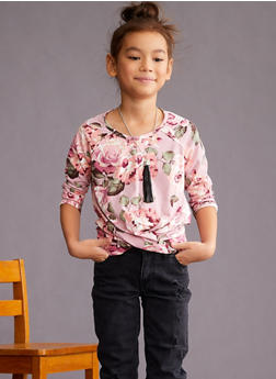 Girls 7-16 Floral Twist Front Top - 3635061950070