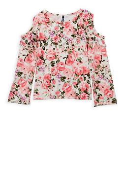 Girls 7-16 Floral Cold Shoulder Top - 3635061950075