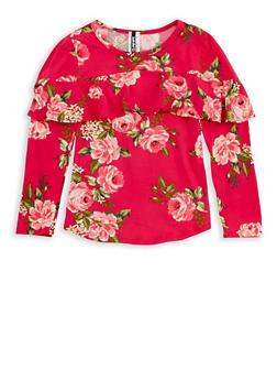 Girls 7-16 Rose Print Ruffled Long Sleeve Top - 3635061950083
