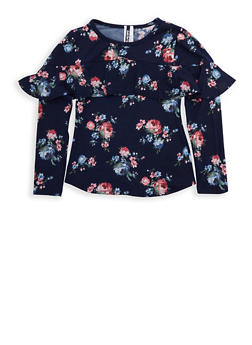 Girls 7-16 Navy Floral Ruffled Top - 3635061950084