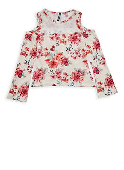 Girls 7-16 Ivory Floral Cold Shoulder Top with Mesh Yoke - 3635061950085