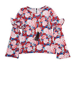 Girls 7-16 Floral Ruffled Trim Top with Necklace - 3635061950091