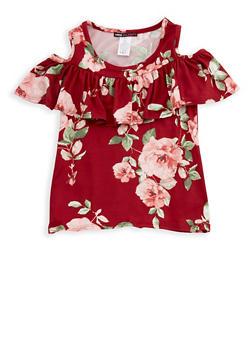 Girls 7-16 Cold Shoulder Ruffled Floral Print Top - 3635061950093