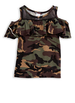 Girls 7-16 Camouflage Ruffled Cold Shoulder Top with Mesh Neckline Insert - 3635061950096