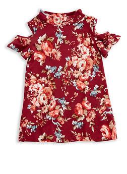 Girls 7-16 Soft Knit Floral Cold Shoulder Top - 3635061950097