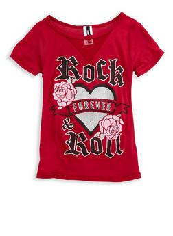 Girls 7-16 Glitter Graphic T Shirt with Mesh Insert - 3635061950099