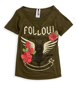 Girls 7-16 Short Sleeve Follow Your Dreams Graphic Top - 3635061950100