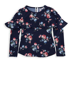 Girls 7-16 Navy Floral Ruffled Top - 3635061950113