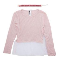 Girls 7-16 Knit Sweater with Mesh Trim and Glitter Choker - 3635061950114