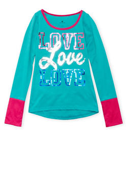 Girls 7-16 Top with Sequined Love Graphic - 3635061955955