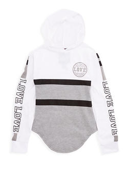 Girls 7-16 Love Graphic Color Block Hoodie - 3635063400001