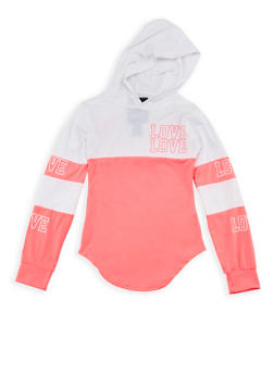 Girls 7-16 Graphic Color Block Hoodie - 3635063400004