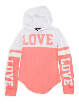 Girls 7-16 Graphic Color Block Hooded Top - 3635063400006