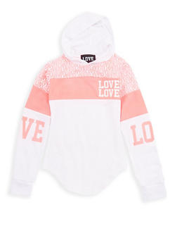 Girls 7-16 Color Block Love Graphic Hoodie - 3635063400007
