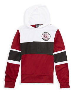 Girls 7-16 Slay Graphic Color Block Hooded Top - 3635063400009