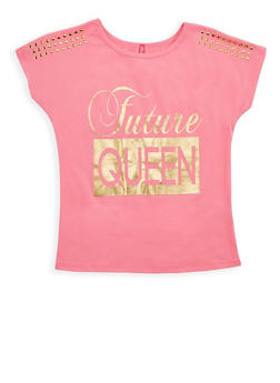 Girls 7-16 Future Queen Studded Graphic Top - 3635066590142