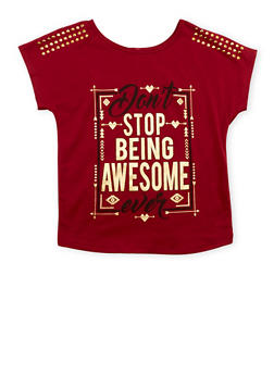 Girls 7-16 Awesome Studded Graphic T Shirt - 3635066590225