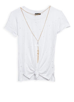 Girls 7-16 Lasercut Tie Front T Shirt with Necklace - 3635066590233