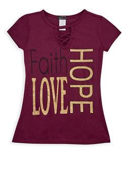 Girls 7-16 Faith Hope Love Graphic Top - 3635066590236