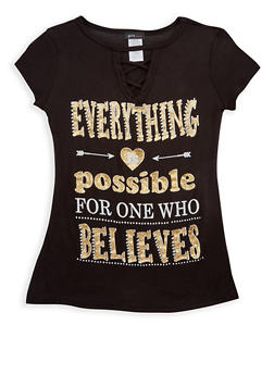Girls 7-16 Everything is Possible Graphic Top - 3635066590238