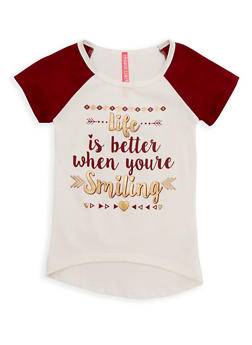 Girls 7-16 Life is Better Graphic Raglan Top - 3635066590251