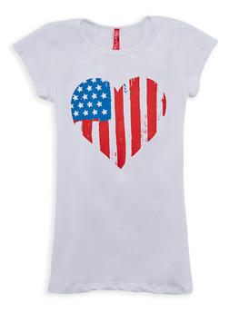 Girls 7-16 Flag Heart Graphic T Shirt - 3635066590267