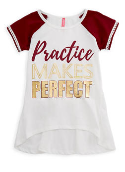 Girls 7-16 Practice Makes Perfect Graphic Top - 3635066590275