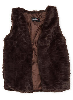 Girls 4-6x Faux Fur Vest with Open Front - 3636038340006