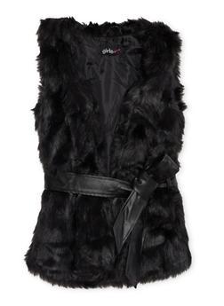 Girls 4-6x Faux Fur Vest with Faux Leather Waist Belt - 3636038340007