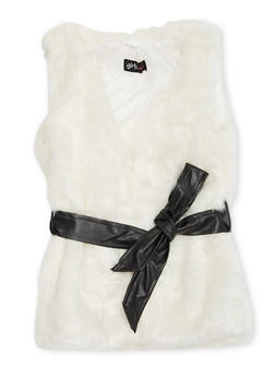 Girls 4-6x Faux Fur Vest with Faux Leather Waist Belt - 3636038340007