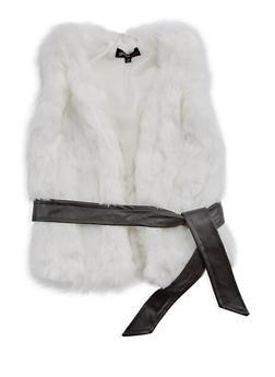 Girls 4-6x Faux Fur Belted Vest - 3636038340018