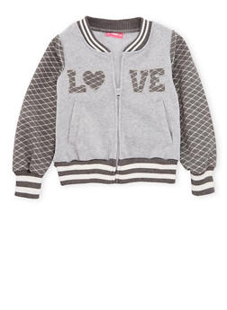 Girls 4-6x Fleece Varsity Jacket with Quilted Love Patch - 3636048370001