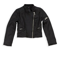 Girls 4-6x Faux Leather Zip Up Jacket - 3636051060052