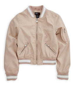 Girls 4-6x Faux Leather Bomber Jacket - 3636051060056