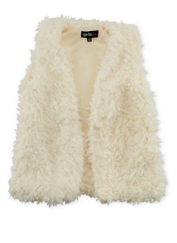 Girls 7-16 Faux Fur Vest with Open Front - 3637038340011