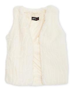 Girls 7-16 Faux Fur Open Front Vest - 3637038340016