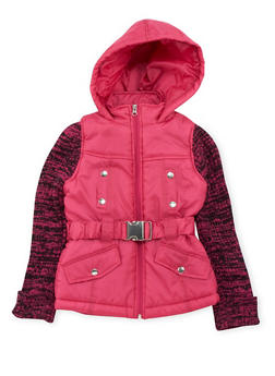 Girls 7-16 Puffer Jacket with Knit Sleeves - 3637038340023