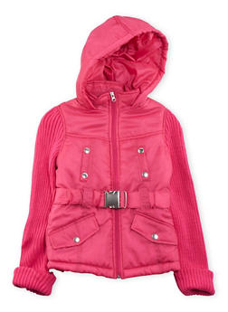Girls 7-16 Hooded Puffer Coat with Knit Sleeves - 3637038340024