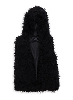 Girls 7-16 Hooded Faux Fur Vest - 3637038340029